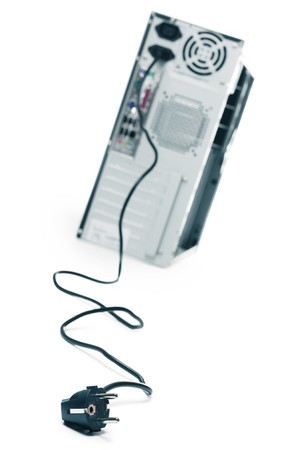 fileserver: Computer case with pluged supply wire on white background Stock Photo