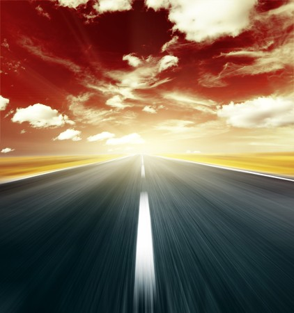 Blurry road and abstract red sky with clouds Stock Photo - 7297214