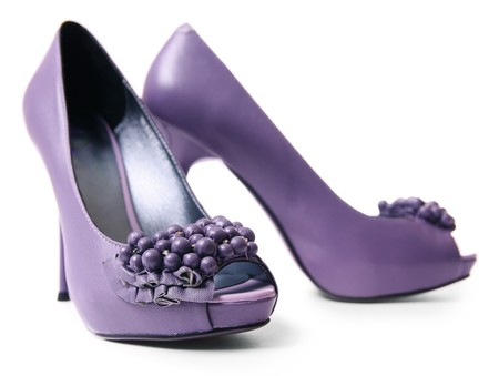 Purple shoe over white photo