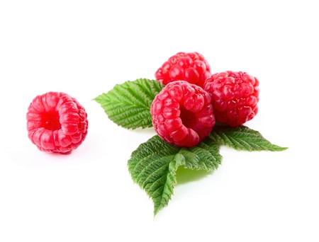 rasp: Ripe rasperry with green leaves over white