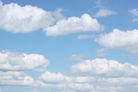 airy: Airy white clouds on blue sky