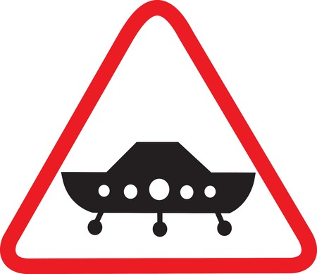 one lane sign: Attention flying UFO!