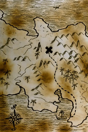isla del tesoro: Mapa de estilo antiguo  Foto de archivo