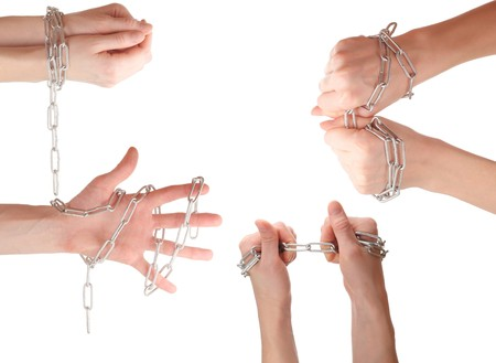 part prison: Hands with chain. Series Stock Photo