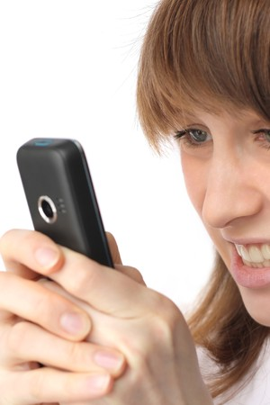 Young woman with cell phone photo