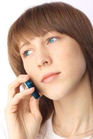 flip phone: Young woman with cell phone Stock Photo