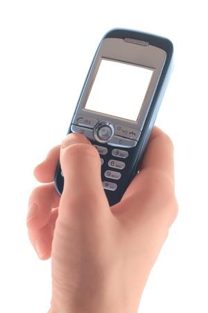 dialing: Tel�fono celular en mano con la pantalla en blanco