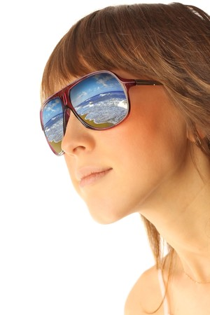 Young woman in glasses with sea reflection Stock Photo - 7582834