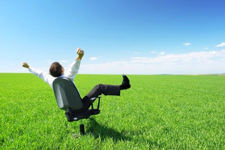 Happy businessman on chair in green field photo