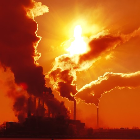 global problem: Industrial plant with smoke
