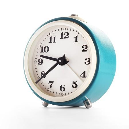 night shift: Retro blue clock isolated on white Stock Photo