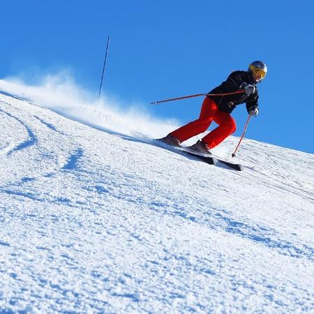 Ski rider on hill photo