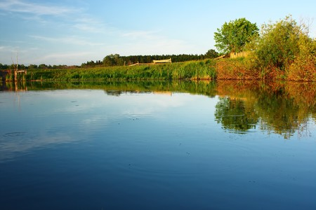 Pond with clear water and trees Stock Photo - 7600153