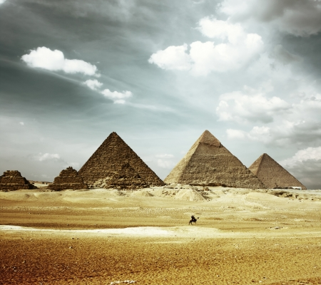 Grate pyramids in Giza valley photo