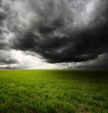 dark cloud: Storm dark clouds flying over field with green grass
