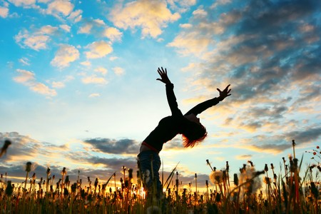 hands of light: Young woman with raised hands standing on meadow with herbs on sunset Stock Photo