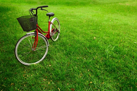 Red bicycle on green grass photo