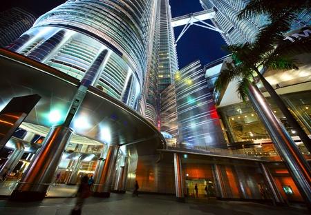 Modern illuminated building at night