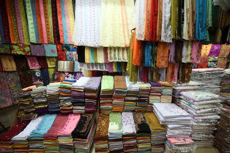 Colored textile in a traditional east market in Malaysia. Stock Photo - 8581142