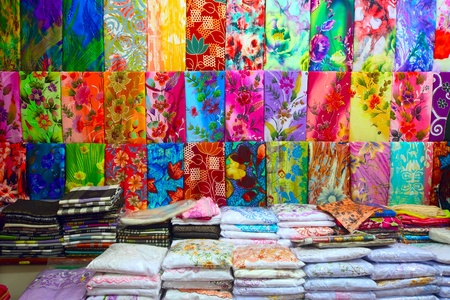 malaysia culture: Colored textile in a traditional east market in Malaysia.