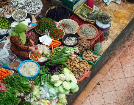 kelantan: Traditional asian market. Malaysia Pasar siti khadijah Stock Photo