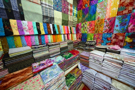 souvenir traditional: Colored textile in a traditional east market in Malaysia.