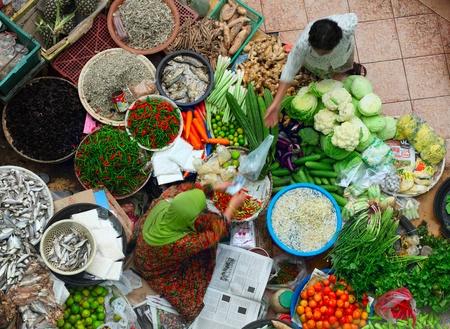 Traditional asian market. Malaysia Pasar siti khadijah Stock Photo