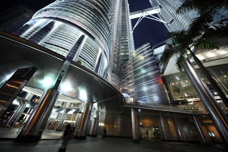 KUALA LUMPUR - NOVEMBER 04: Part of the Petronas Twin Towers - tallest twin buildings in the world at the night November 04, Kuala Lumpur, Malaysia Stock Photo - 8985536