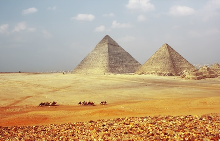 Grate pyramids in Giza valley. Egypt photo