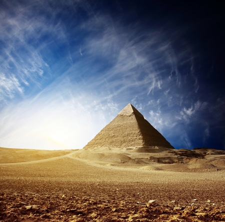 cheops: Grate pyramids in Giza valley. Egypt Stock Photo