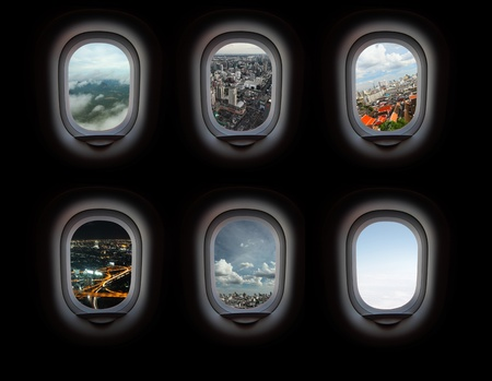 airplane window: Group of plane windows with different views