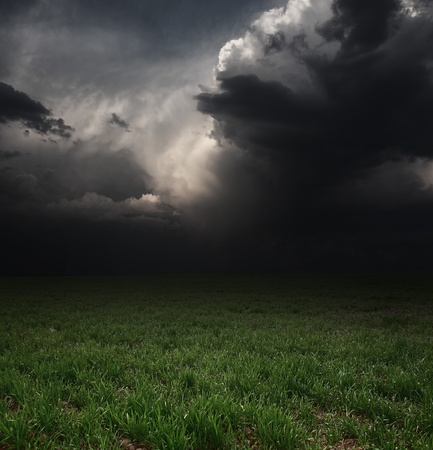 Dark storm clouds over meadow with green grass photo