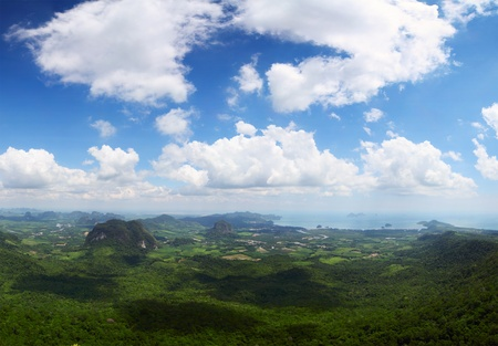 nang: Valley of the Ao Nang town (Krabi province of Thailand) at sunny day with clouds in the sky.