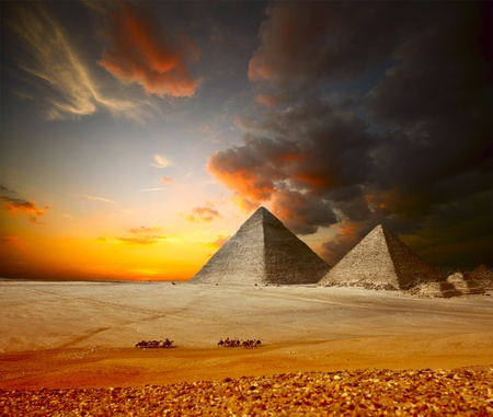 egyptian pyramids: Grate pyramids in Giza valley. Egypt Stock Photo