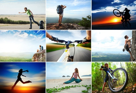 recreation: Collage with sport and travel theme. Hiking, cycling, climbing