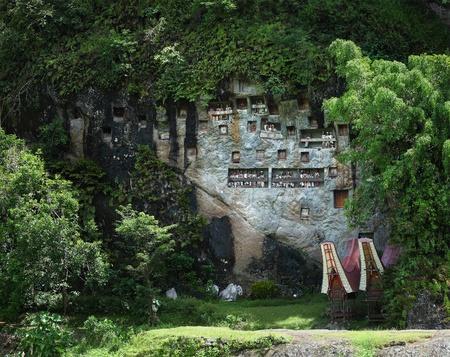 toraja: Old family statues Tau-tau, standing on a rock balconies. Tana Toraja region. Sulawesi island. Indonesia