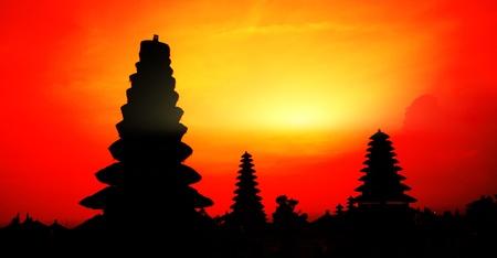 pura: Traditional hindu buildings at sunset background. Pura Besakih. Indonesia Stock Photo