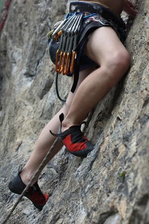Part of a climber on a rock photo