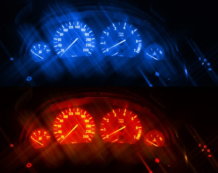 Dashboards of a modern car with artificial blurred lines. Two same images different toned photo