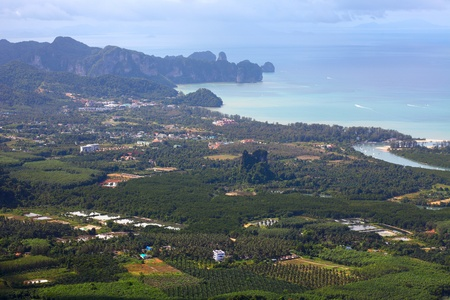 nang: Valley with town small villages and separete buildings near sea. Ao-Nang. Thailand Stock Photo