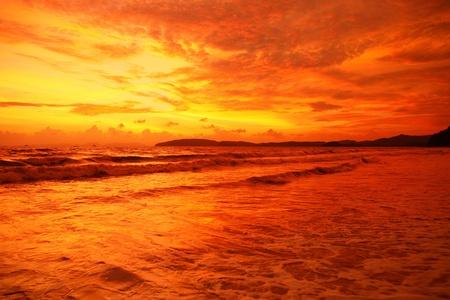 over the sea: Vivid tropical sunset over Andaman sea Stock Photo
