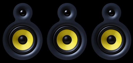 Sound system with yellow subwoofer isolated on black photo