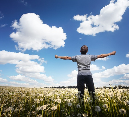 Young man with raised hands standing on a meadow with dandelions Stock Photo