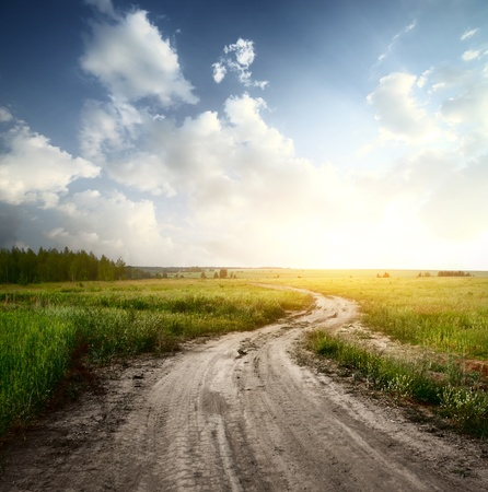 clouds in sky: Rural road through fields with green herbs and blue sky with clouds Stock Photo