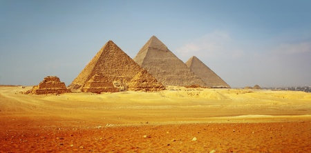 Giza valley with Great pyramids with clear blue sky photo
