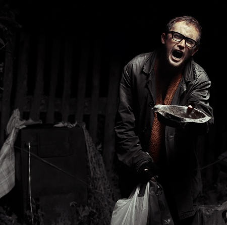 distraught: Roaring man in tramps dirty wears looking to a camera and asking help with dish