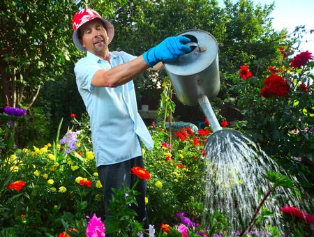 Mature caucasian smiling man watering her garden with a lot of flowers
