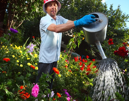 Mature caucasian smiling man watering her garden with a lot of flowers photo