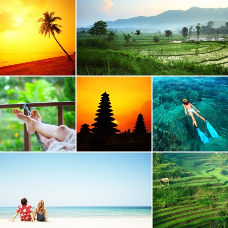 tourist resort: Set of images with recreation theme in tropical country. Bali island