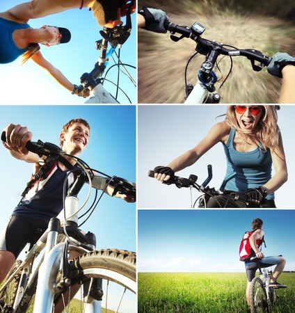 Set of a pictures with bicycle theme photo